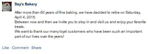Days Bakery Closing