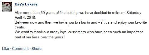 Days Bakery Closing
