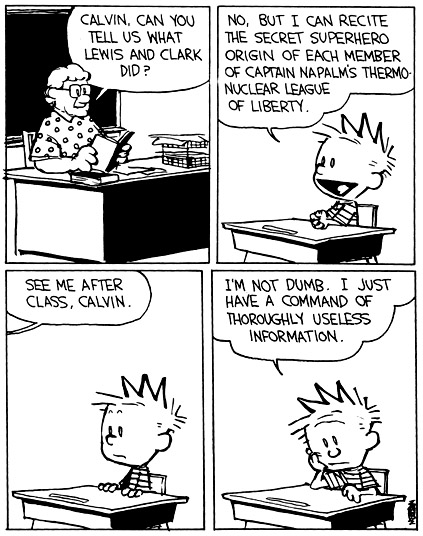 Calvin and Hobbes Bill Waterson Useless Information