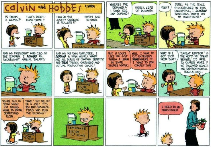 Calvin and Hobbes Subsidized Lemonade Stand