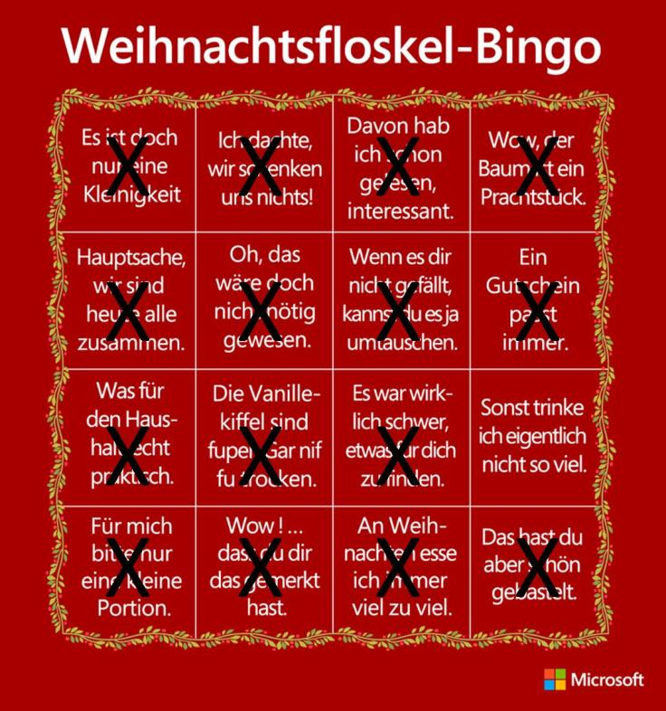 Christmas Cliche Bingo auf Deutsch Komplete