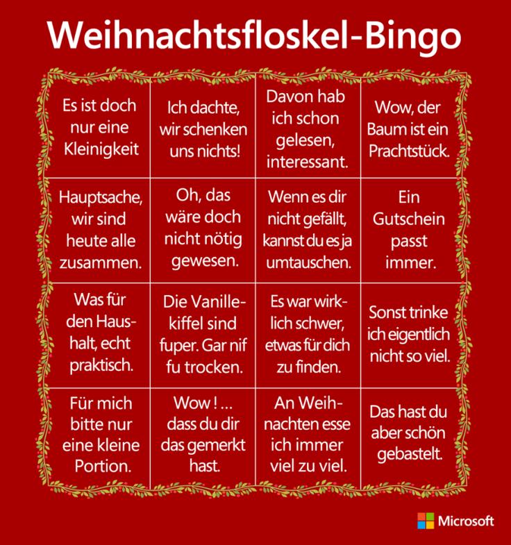 Christmas Cliche Bingo auf Deutsch