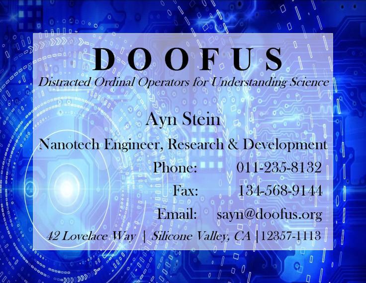 Doofus Business Card 4