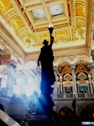 Library of Congress Statue with Electric Torch