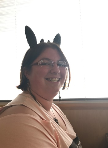Krystal at Dennys with Toothless Ears