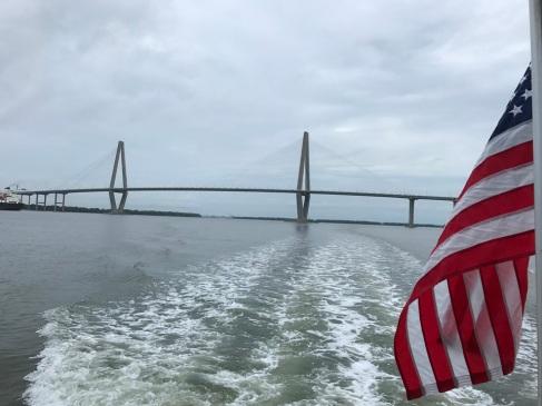 Ravenel Bridge with Flag